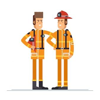 Dois oficiais de bombeiro em pessoal