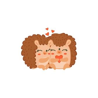 Dois ouriços fofos se abraçando com corações