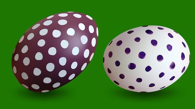 Dois ovos de páscoa pontilhados isolados em um fundo verde