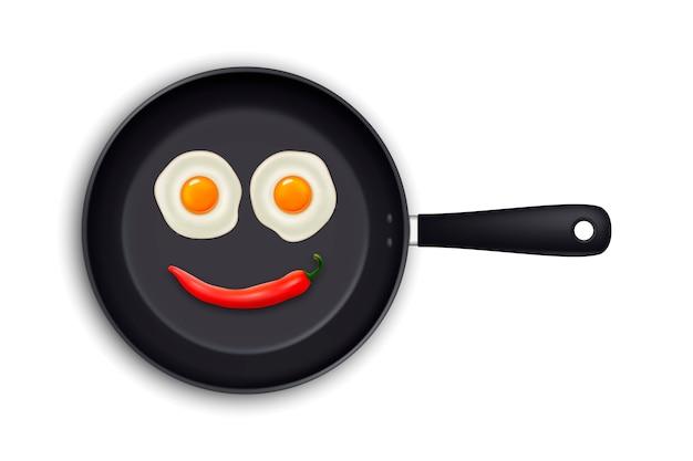 Dois ovos fritos realistas e pimenta vermelha quente, dispostos na forma de um emoticon