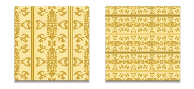 Dois padrões de vetores de padrões de ouro damasco sem costura ornamento sem costura vintagegold yellowvector