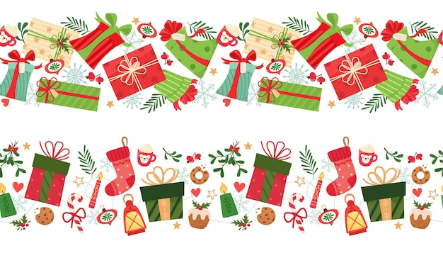 Dois padrões sem emenda com presentes de natal e elementos.