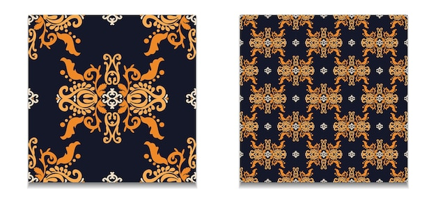 Dois padrões sem emenda de padrões vintage conjunto de padrões de vetores damasco cor laranja azul