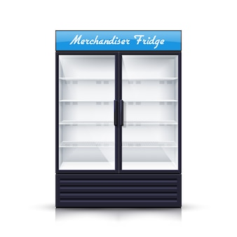 Dois painéis empty fridge realistic illustration