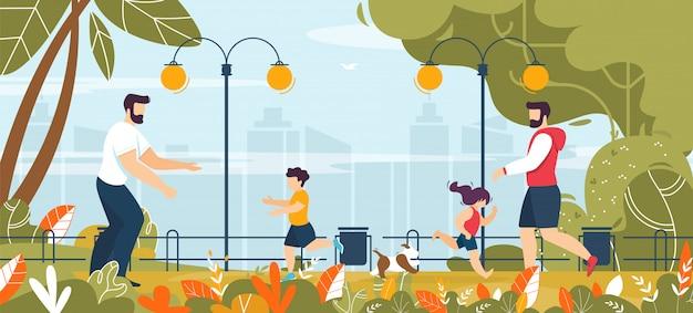 Dois pais andando com crianças no parque dos desenhos animados
