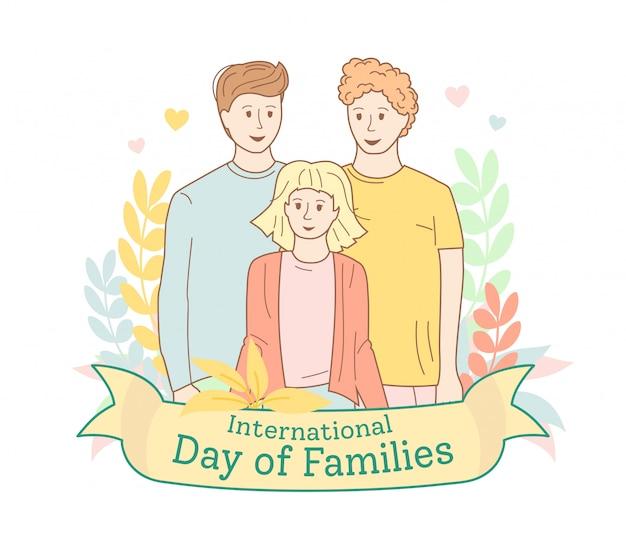 Dois pais e filha. retrato de família casal gay e criança com coroa de flores, fita. dia internacional da família do cartão