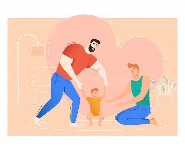 Dois pais, levantando filho