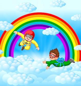 Dois pára-quedistas estão voando no céu