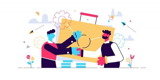 Dois parceiros de negócios, apertando as mãos e maleta grande. a parceria e o acordo, a cooperação e o negócio terminaram o conceito no fundo branco. ilustração isolada violeta vibrante brilhante