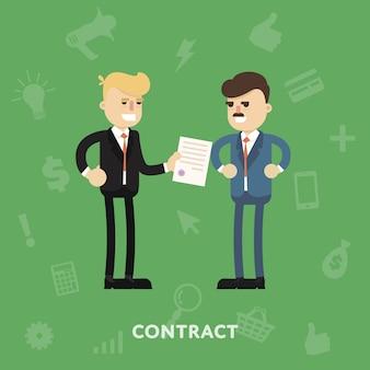 Dois parceiros de negócios, assinando um documento