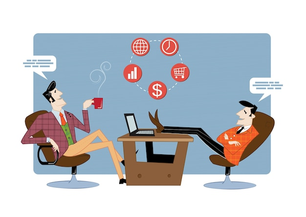 Dois parceiros de negócios estão discutindo o andamento do trabalho. contrato comercial, financiamento de ideias.