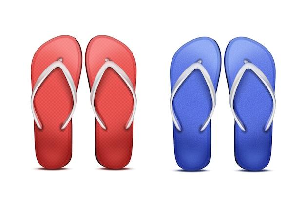 Dois pares de chinelos de praia vermelhos e azuis