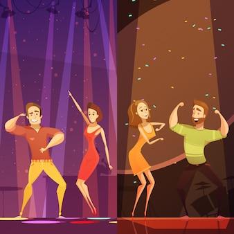Dois, pares jovens, dançar, em, coloridos, holofotes, em, discoteca, clube