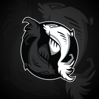 Dois peixes formam um símbolo yin yang