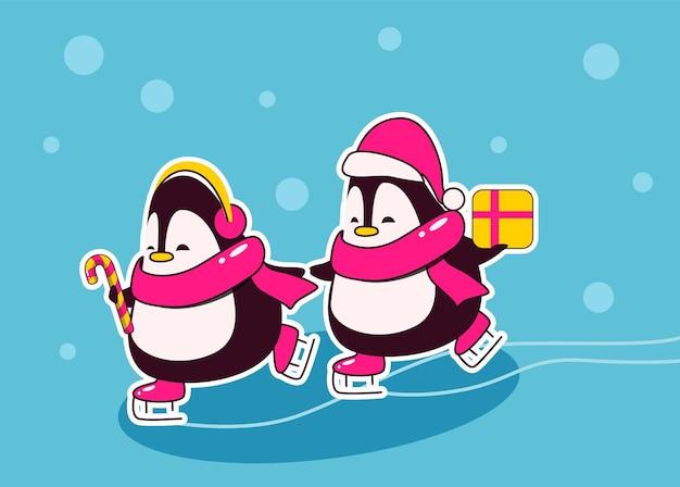 Dois personagens de natal, pinguins fofos na taça de papai noel com presentes patinando nas mãos na pista de patinação
