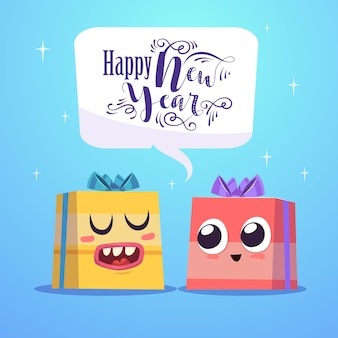 Dois personagens fofinhos se alegram feliz ano novo