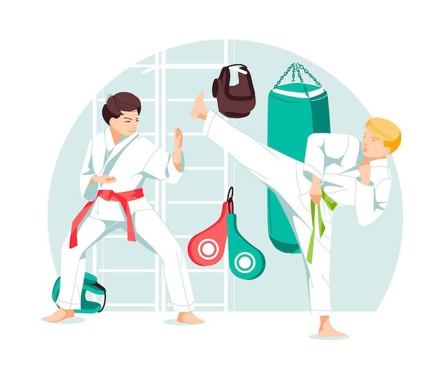 Dois personagens garotos de taekwondo karate kung fu em posição de sparring