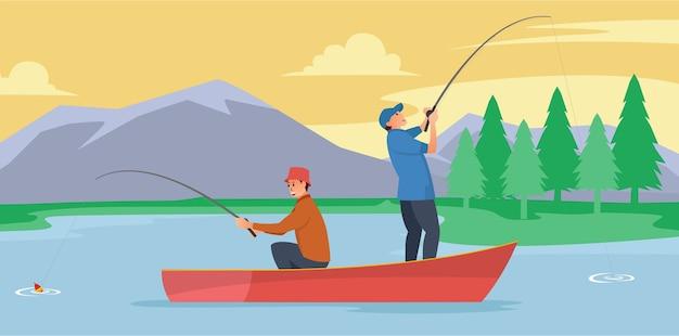 Dois pescadores estão no meio do lago usando uma jangada para pescar