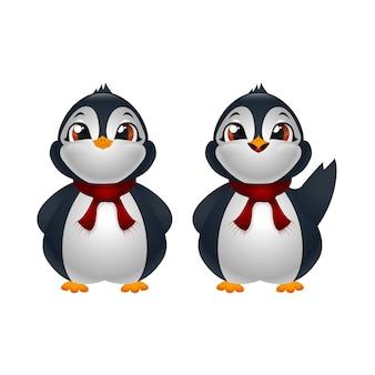 Dois pinguins bonitos de desenho animado com lenço vermelho