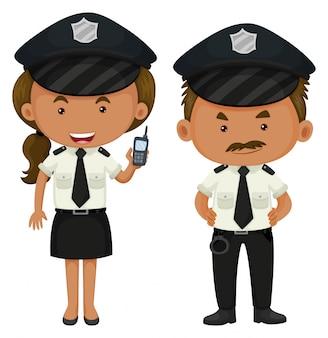 Dois policiais em uniforme preto e branco