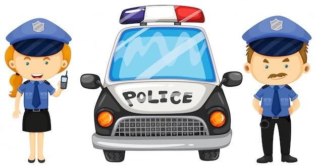 Dois policiais pelo carro da polícia