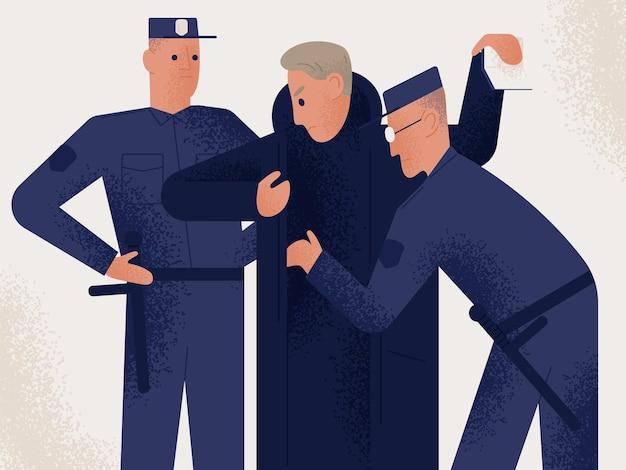 Dois policiais uniformizados segurando a busca de suspeito ou criminoso masculino