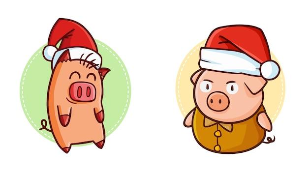 Dois porcos fofos e engraçados do kawaii usando chapéu de papai noel no natal