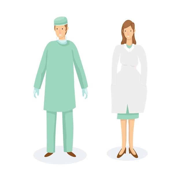 Dois profissionais de saúde estão usando uniformes operacionais Vetor Premium