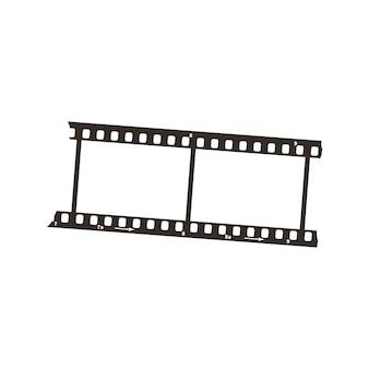 Dois quadros de recorte de filme de 35 mm de diâmetro positivo, ícone preto simples no branco