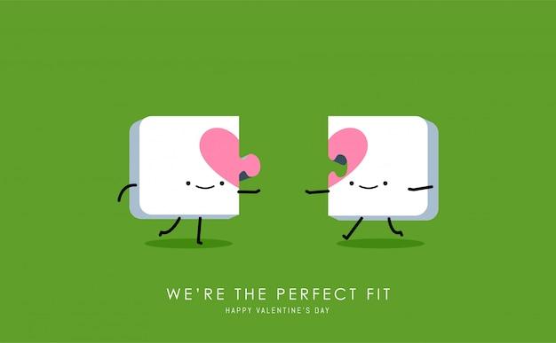 Dois quebra-cabeças de coração.