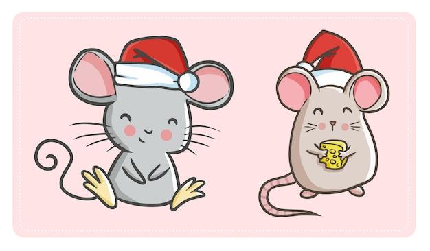Dois ratos kawaii engraçados fofos com chapéu de papai noel para a celebração do natal