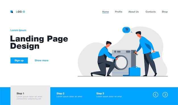 Dois reparadores consertando o modelo da página de destino da máquina de lavar