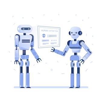 Dois robôs examinam a interface virtual do hud.