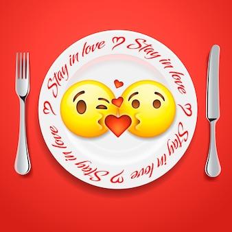 Dois rostos de emoji se beijando no dia dos namorados