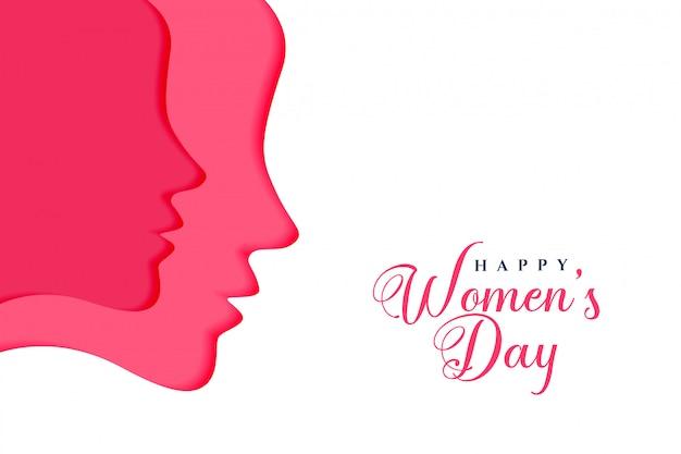Dois rostos femininos para feliz dia das mulheres