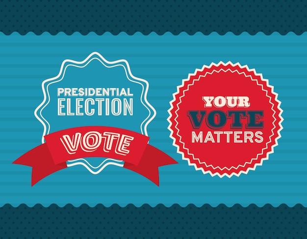 Dois selos de voto no design de fundo azul e listrado, governo eleitoral para presidente e tema de campanha.