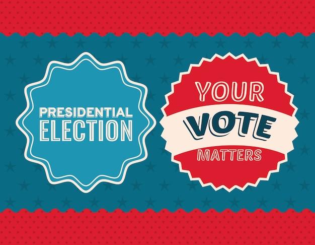 Dois selos de voto no design de fundo estrelado e azul, governo eleitoral para presidente e tema da campanha.