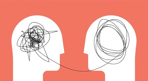 Dois seres humanos dirigem o conceito psicoterapia de silhueta.