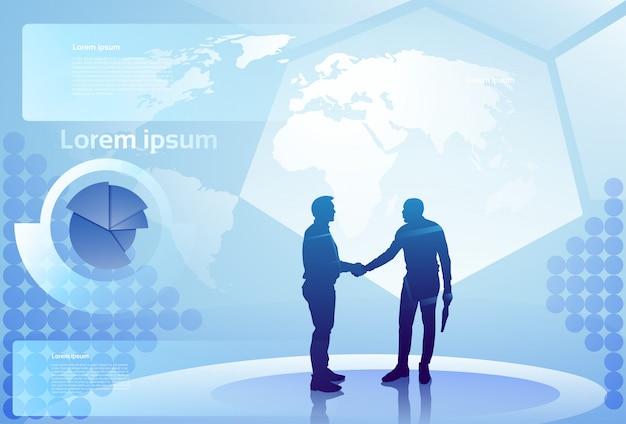 Dois, silueta, homem negócios, mão, agitação, sobre, abstratos, finanças diagrama, fundo, negócio, homem, aperto mão, acordo, conceito
