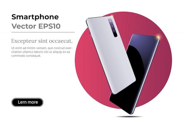 Dois smartphones com tela em branco sem moldura na posição girada.