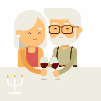 Dois, sorrindo feliz, pessoas velhas, par