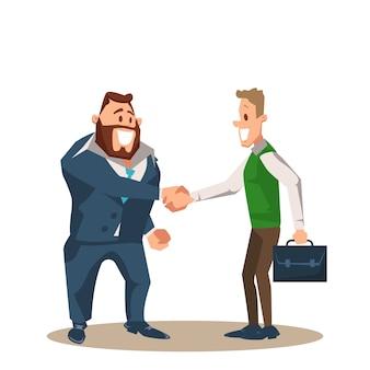 Dois, sorrindo, homem negócio, personagem, apertar mão