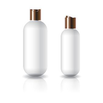 Dois tamanhos de garrafa cosmética redonda oval branca
