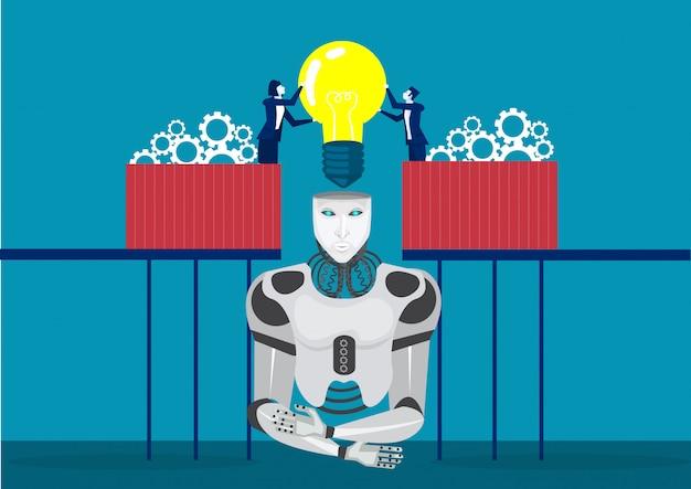 Dois, técnicos, construir, ou, montando, junto, homem negócios, entrada, cérebro, para, robô