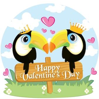 Dois tucanos apaixonados, sentados em um galho. amor tropical. feliz dia dos namorados