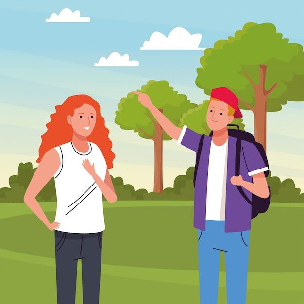 Dois turistas fazendo atividades na ilustração da paisagem do acampamento