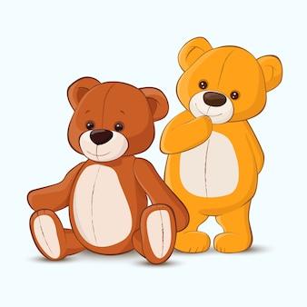 Dois ursinhos de pelúcia na ilustração do estilo cartoon