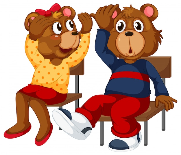 Dois, ursos, sentando