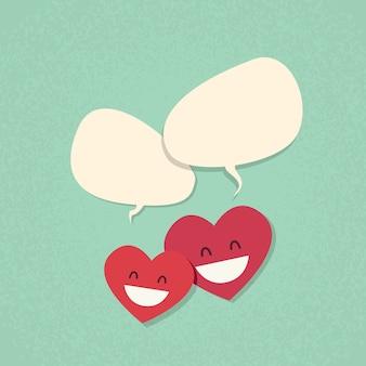 Dois vermelho coração forma amor casal bate-papo