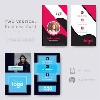 Dois, vertical, cartão negócio, desenho